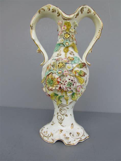 Coalport Vase by Antique Coalport Coalbrookdale Style Floral Encrusted Vase