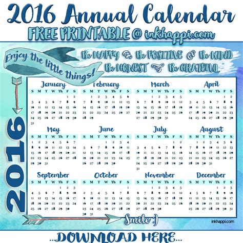 Annual Calendar 2016 2016 Annual Calendar And Some Happy Thoughts Inkhappi