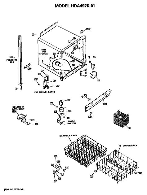 hotpoint dishwasher parts diagram hotpoint dishwasher parts model hda497k01 sears
