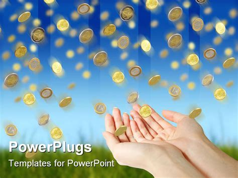 Powerpoint Template Rain Of Golden Coin Falling Down From Blue Sky 7586 Powerpoint Challenge Coin Template