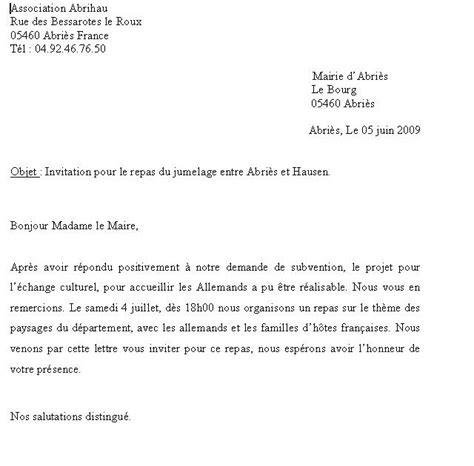 Modèle De Lettre D Invitation Pour Un Hote Particulier Association Abrihau Pour Le Projet Document Lettre D Invitation Pour Madame La Maire