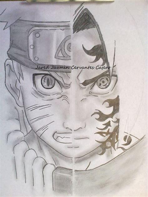 imagenes a lapiz de naruto mi dibujo de naruto vs sasuke con procedimiento arte