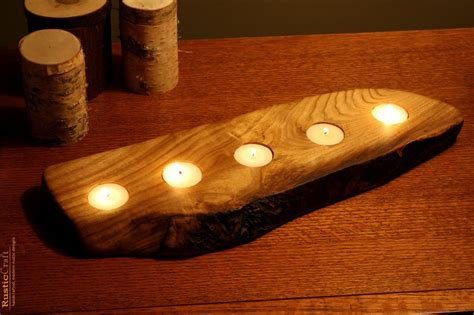 Handmade Unique - rustic wood tea light candle holder 5 tealight holder