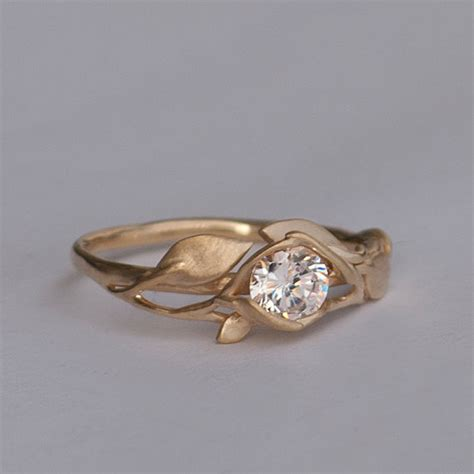 leaves engagement ring no 6 14k gold and