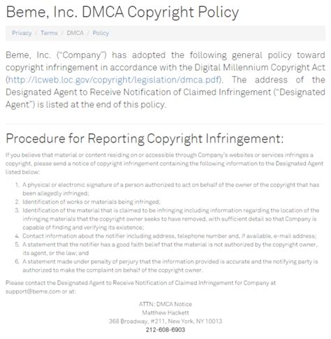 dmca policy beme or behbo beshowtime bepayperview duetsblog