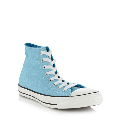 Converse Shoes High Tops Light Blue Flower