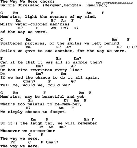 guitar lyrics song lyrics with guitar chords for the way we were