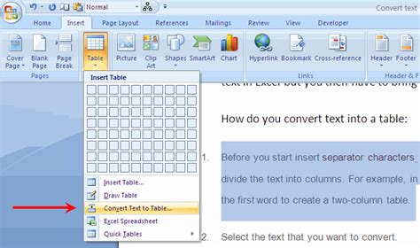 how to convert table to text in word how to convert boring text into stunning tables
