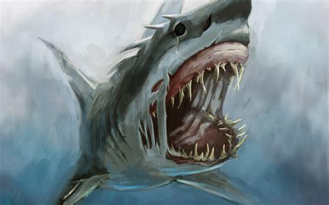 wallpaper pc ukuran besar foto ikan hiu menyeramkan