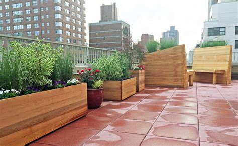 west side rooftop terrace with custom planter boxes