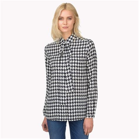 Blouse Houndstooth houndstooth chiffon blouse endource