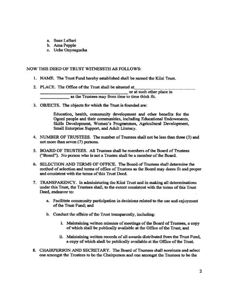 trust deed template declaration of trust template free resume now terms and