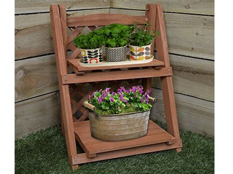 herb shelf 2 tier wooden pot plant planter shelf flower herb shelves