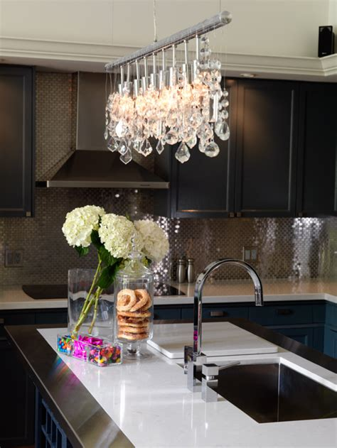 White Kitchen With Chandelier Creating The Kitchen Backsplash With Mosaic Tiles