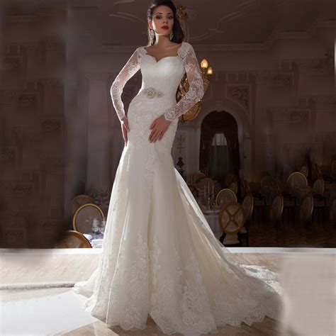 fw illusion long sleeves lace mermaid wedding dresses