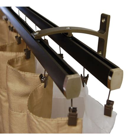 dual curtain track madison double curtain track dark bronze walmart com
