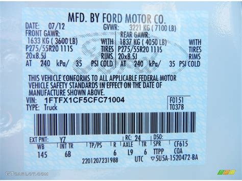 2012 f150 color code yz for oxford white photo 69173248 gtcarlot
