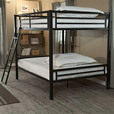 Bunk Bed Ladder Safety Bunk Bed With Ladder Safety Rails In Black Metal Finish Black Bunk Beds