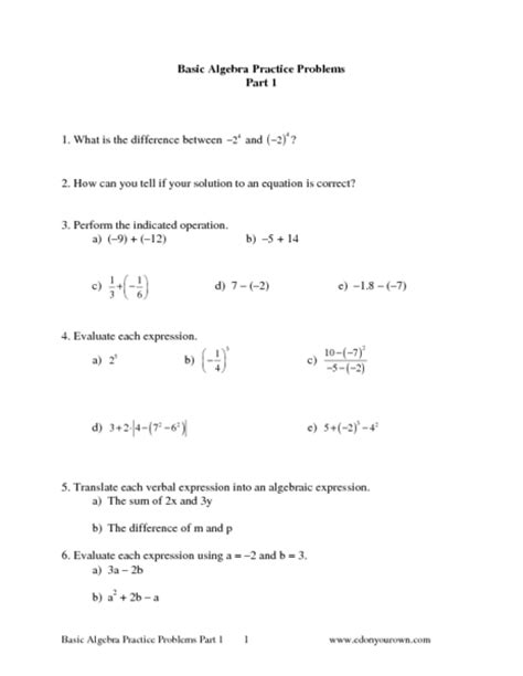 Common Algebra 1 Worksheets by Worksheet Basic Algebra Practice Worksheets Caytailoc