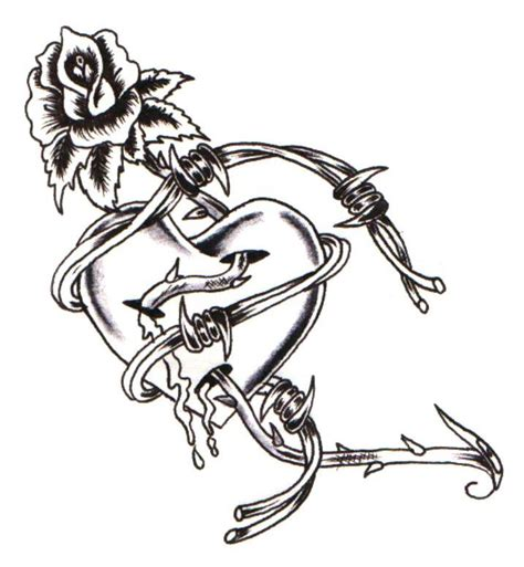 rose and barbed wire tattoo banner tattoos designs cliparts co