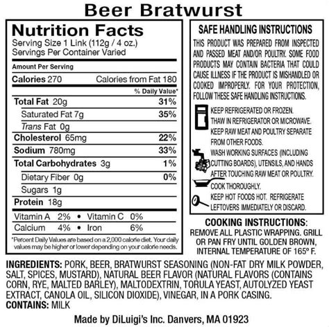 bratwurst nutrition beer bratwurst nutrition facts nutrition ftempo