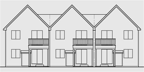 triplex house plan townhouse with garage row house t 414 triplex house plan townhouse with garage row house t 414