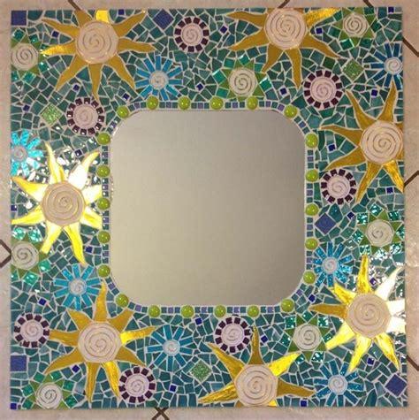 Handmade Mosaic Mirrors - crafted mosaic mirror aqua large handmade stained