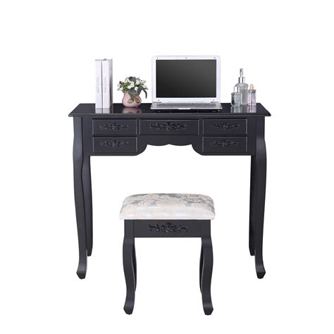 black makeup desk with drawers black dressing table vanity makeup desk w 7 drawers 3