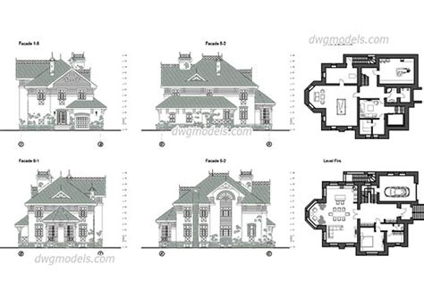 classic home design drafting villas dwg models free download