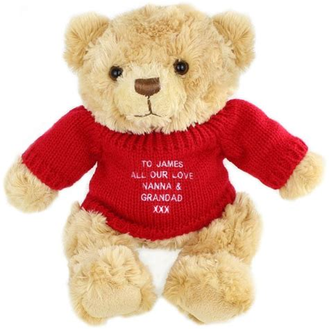 personalised teddy bear red jumper find me a gift