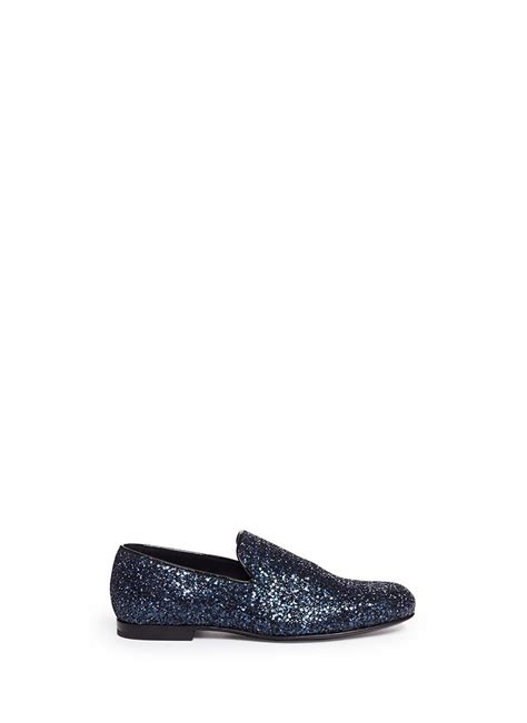 jimmy choo loafers womens jimmy choo sloane sequin loafers in blue for blue and