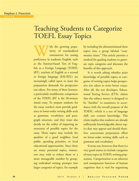 Toefl Essay Writing Topics by Teaching Students To Categorize Toefl Essay Topics Pdf Available