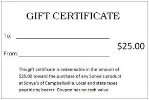 25 gift certificate template