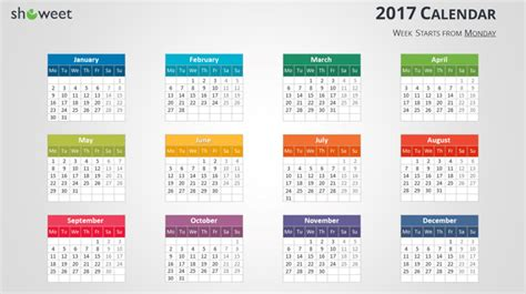 Calendrier 2018 Powerpoint Colorful 2017 Calendar For Powerpoint And Keynote