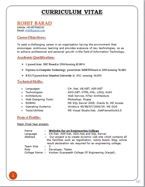 formal resume format sle professional curriculum vitae format