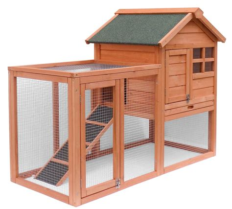 rabbit house merax wooden chicken coop pet house rabbit wood hutch house poultry wood cage ebay