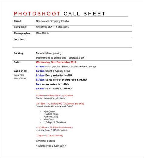 Photoshoot Call Sheet Template