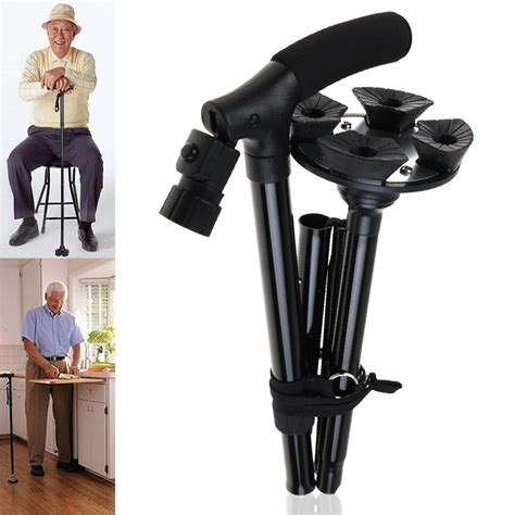 folding walking stick with light adjustable handle folding collapsible cane with led light