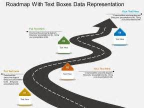 im roadmap with text boxes data representation flat
