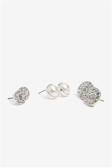 Rhinestone Pearl Earring s earrings rhinestone pearl 3pair earring a gaci