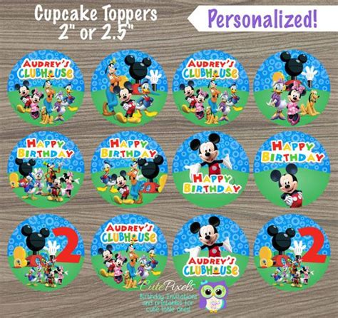 mickey mouse cupcake toppers mickey mouse clubhouse toppers
