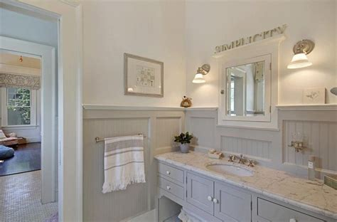 Mdf Wainscoting In Bathroom Cottage Master Bathroom With Flat Panel Cabinets