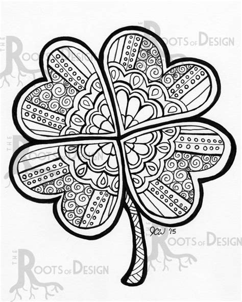 clover mandala coloring page instant download coloring page four leaf clover