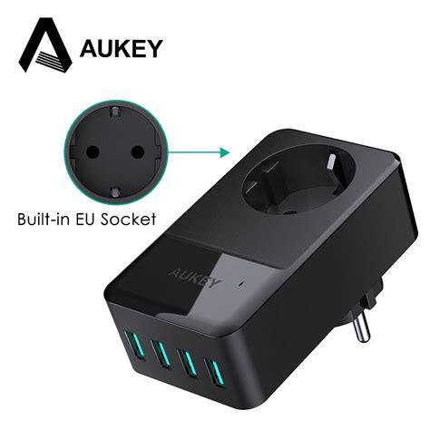 4 Port Usb Wall Charger And Universal Socket aukey 4 port usb charger built in socket universal wall