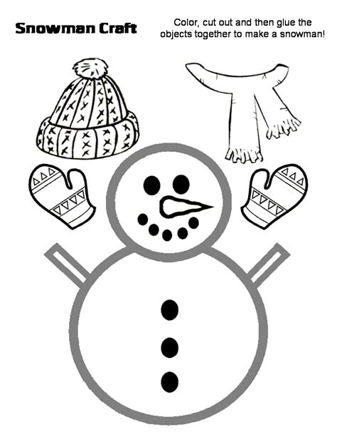 printable preschool snowman template preschool crafts for kids december 2011