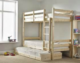 Bunk Bed With Guest Bed Everest 3ft Single Heavy Duty Solid Pine High Bunk Bed With Guest Bed