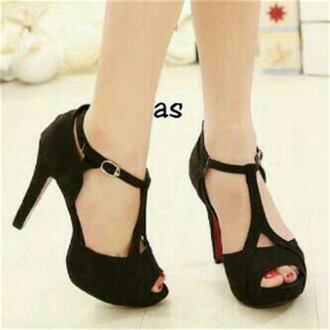 High Wedges Hitam Tinggi 12cm Suede Murah Harga Murah sepatu sandal high heels warna hitam model terbaru