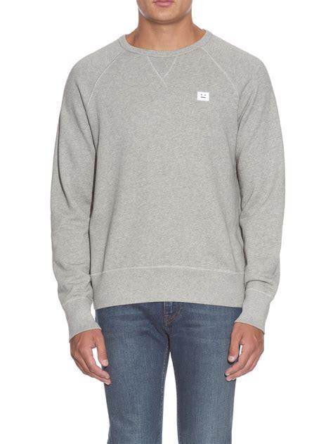 acne studios college jersey sweatshirt in gray for lyst