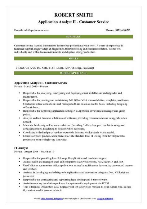 App Q Resume Application Analyst Resume Sles Qwikresume