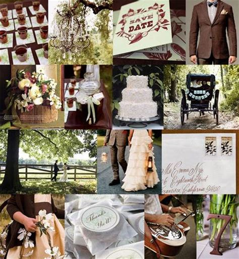brown green rustic wedding chic